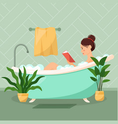 beautiful woman takes a bathroom and reads a book vector image