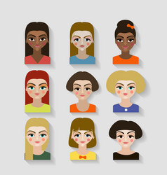 beautiful young girls with various hair style vector image
