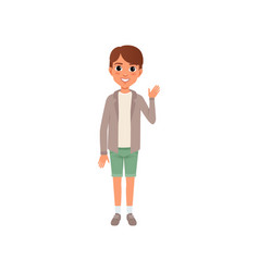Boy with brown hair in stylish casual clothes vector
