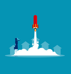 Businesswoman launches rocket concept business vector