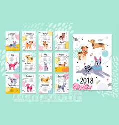 Calendar sample 2018 animal vector