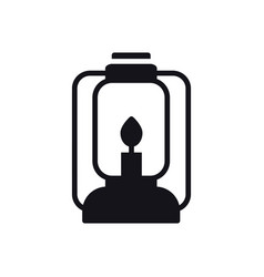camping lantern icon oil lamp with glowing fire vector image