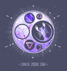 Card with astrology cancer zodiac sign vector
