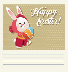 cartoon happy easter girl bunny egg vector image