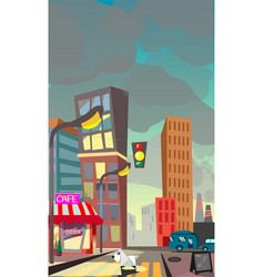 cartoon of a night city vector image