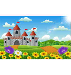 cartoon of castle on hill landscape vector image
