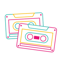 cassettes recorder tape music vintage vector image