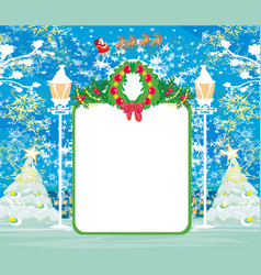christmas and new year card template with winter vector image