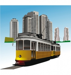 city and tram vector image