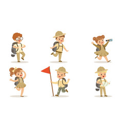 collection cute kids scouts camping adorable vector image