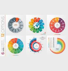 Collection of 6 circle chart templates 12 vector