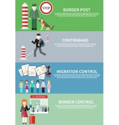 Contraband border control post and migration vector image