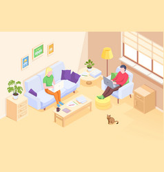 couple working online home freelance isometric vector image