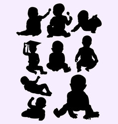 Cute little baby silhouette style vector