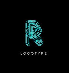 Cyber letter r for digital technology logo concept vector
