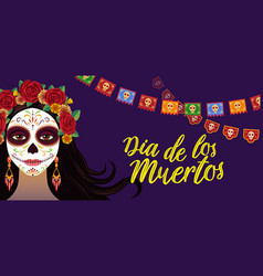 day of dead colorful banner with girl with vector image