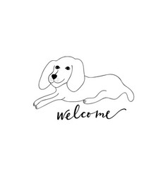 Dog welcome sign vector