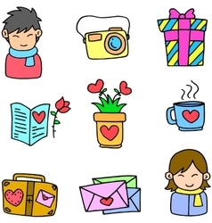 Doodle object love theme vector