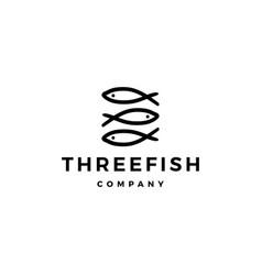 Doodle triple three fish logo icon vector
