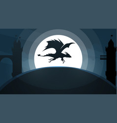 Dragon castle cartoon paper vector