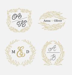 Elegant floral monograms and borders vector