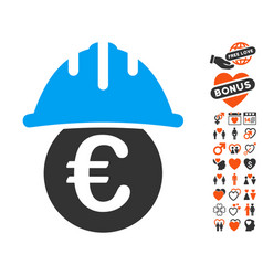 Euro under safety helmet icon with dating bonus vector