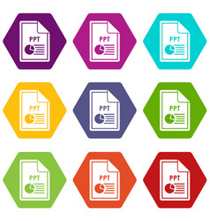 File ppt icon set color hexahedron vector