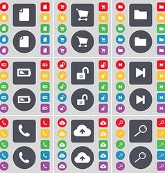 File Shopping cart Folder Battery Lock Media skip vector image