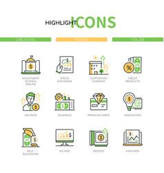 finance concept - line design style icons set vector image