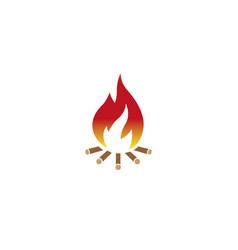 Fire wood burning campfire for logo design vector