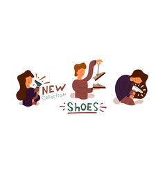 Flat banner bought new cool shoes vector