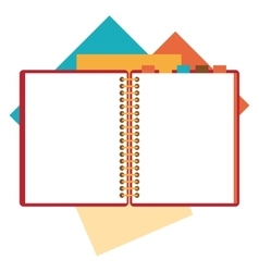 Flat design of open notepad paper sheets vector image