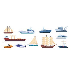 flat ships sailing yachts marine sailboats vector image