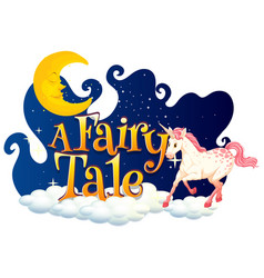 Font design for word a fairy tale with white vector