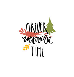 forever autumn time badge isolated design label vector image