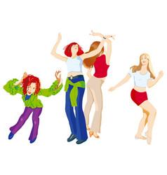 Four dancing girls vector