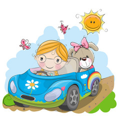 Girl goes on the car vector