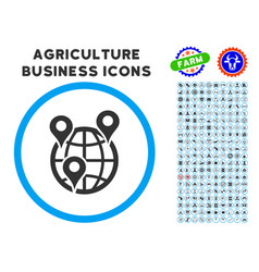 Global company branches rounded icon with set vector