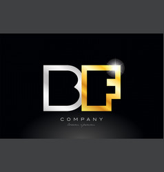 Gold silver alphabet letter bf b f combination vector