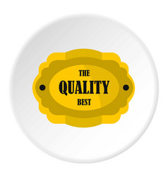 Golden quality label icon circle vector