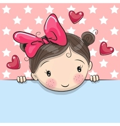 Greeting card cute Cartoon Girl with placard vector image
