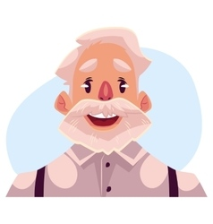 Grey haired old man face wow facial expression vector