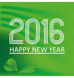 Happy new year 2016 on green wave color background vector