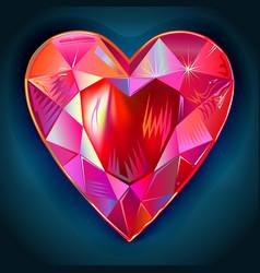 Heart cut gemstone shape on blue background vector