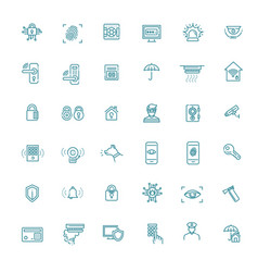 Home security icons set line set vector