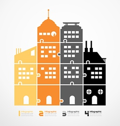infographic Template city tower jigsaw banner vector image