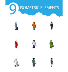 Isometric human set of medic female hostess and vector
