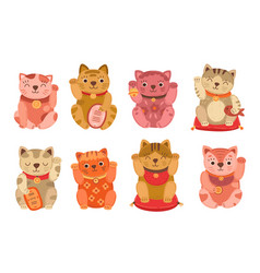japanese cats lucky japan cat isolated asian pet vector image