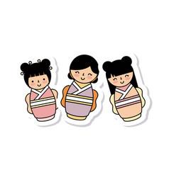 Japanese girls icon vector