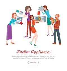 Kitchen Appliances Set of People on Store Sale vector